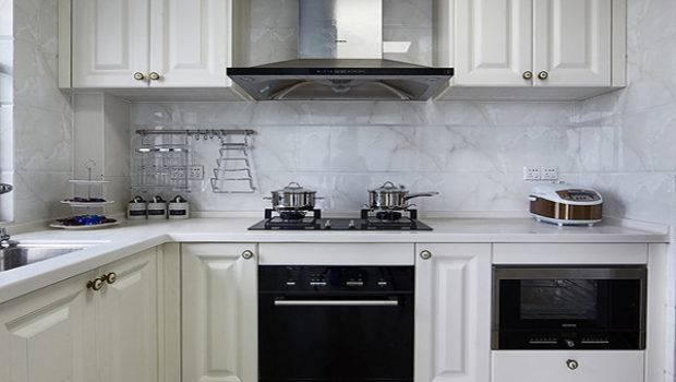 White Shaped Kitchen Cabinet Design