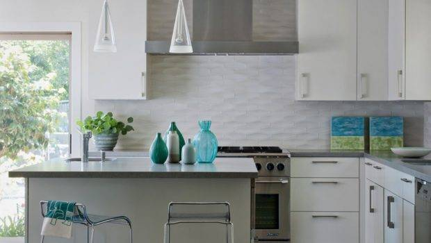 White Textured Subway Tile Backsplash Island Design Olpos