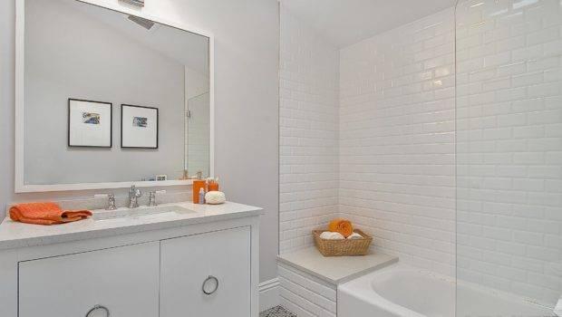White Tile Bathroom Wall