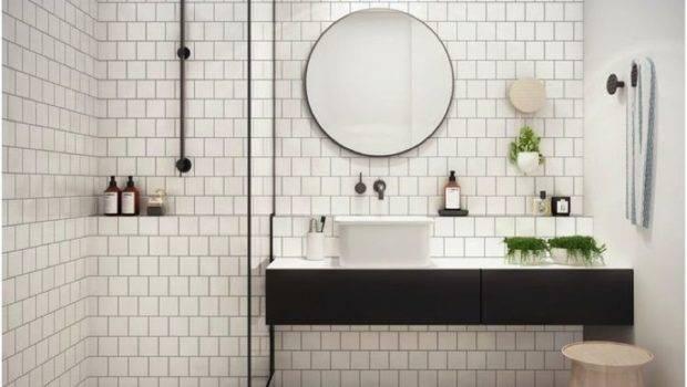 White Tiles Black Grout Lip Above Sink Also Shower Tiled