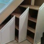White Under Stair Storage Design Idea Brown Staircase