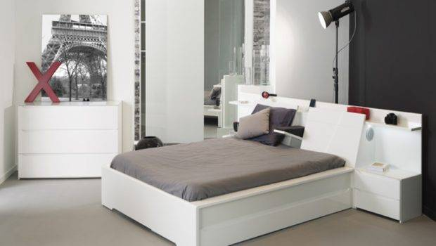 White Wood Backboard Bed Feat Twin Nightstands Grey Bedding Also