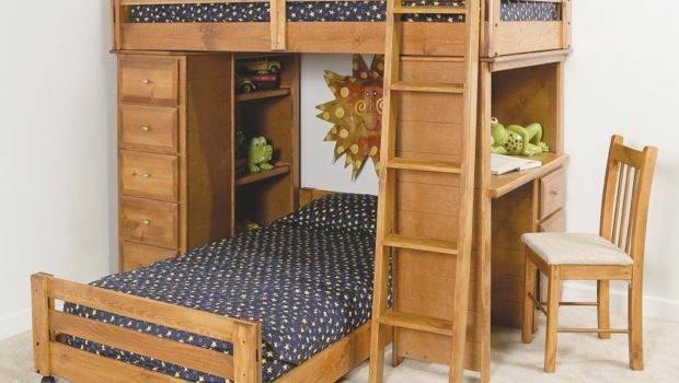 White Wooden Bunk Bed Pink Corner Desk Plus Shelves