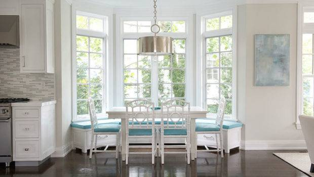 Window Seat Accented Turquoise Cushions Paired White Dining