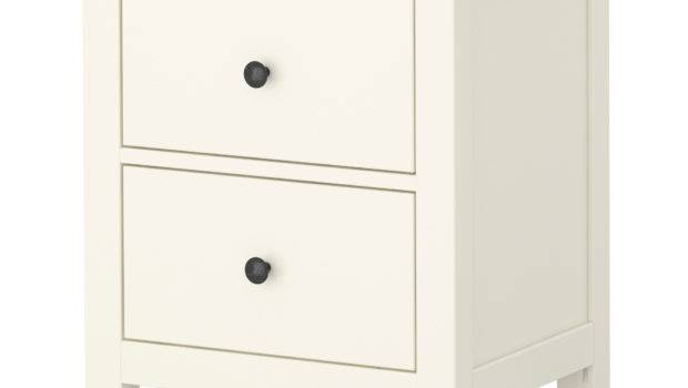 Winsome Small White Nightstand Double Drawers