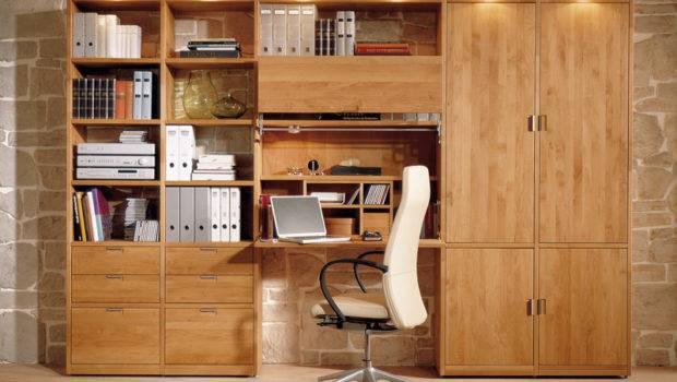 Wood Bookcase Integrated Folding Desk Kids Study Room