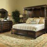 Wood Canopy Bed Frame Queen Black