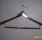 Wooden Clothes Hanger Has Loops Containing Dowel Hooks