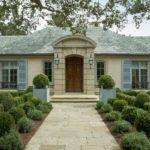 Wooden Front Door French Country House Facade Facing Stone Pathway