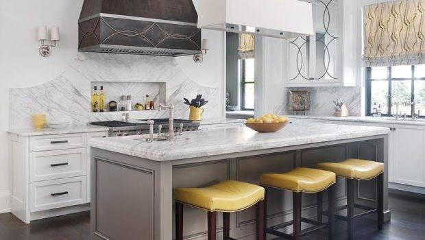 Yellow Gray Kitchen Ideas Transitional