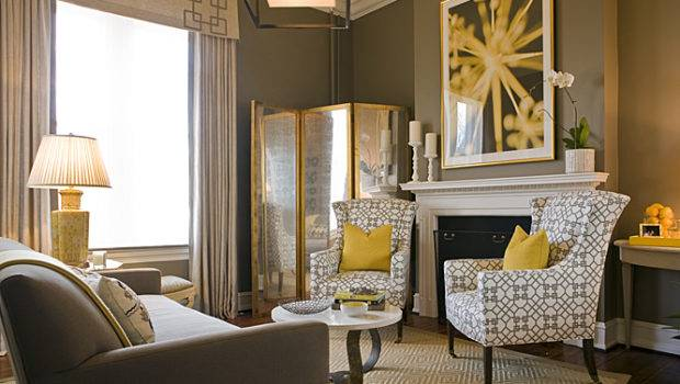 Yellow Gray Living Room Contemporary