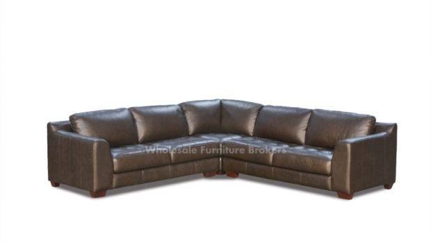 Zen Mocha Leather Shaped Sectional Sofa Square Corner Chair